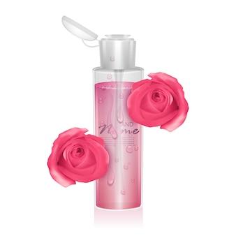 Modello per pacchetto cosmetico acqua micellare del toner idratante con estratto di rosa illustrazione realistica