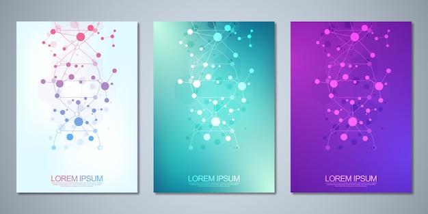 Modello per copertina o brochure, con sfondo di molecole e filamento di dna. concetto medico o scientifico e tecnologico.