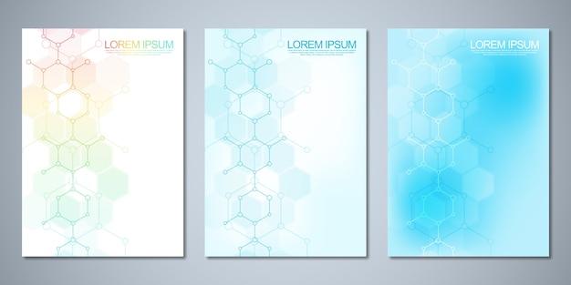 Modello di copertina, flyer, con sfondo di molecole. design del modello con concetto e idea per la scienza e l'innovazione tecnologica.