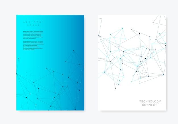 Modello di copertina con triangoli poligonali e linee e punti collegati