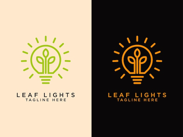 Modello i loghi creativi delle foglie sparano un po 'di crescita sulle lampadine