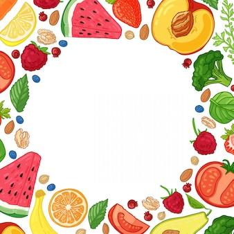 Opuscolo di progettazione del modello con l'arredamento della frutta modello del cerchio di alimenti naturali, frutta, verdura e bacche cornice con cibo vegetariano arredamento