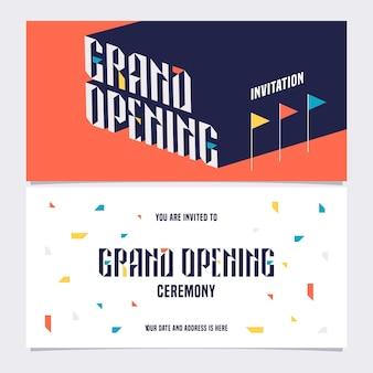 Elemento di design modello per carta di invito alla cerimonia di inaugurazione. apertura del negozio presto invito