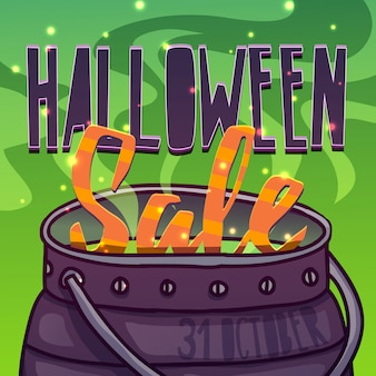 Cartolina d'auguri di progettazione del modello, flyer, poster per l'offerta di sconto di happy halloween