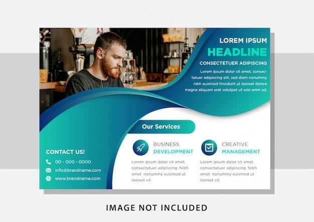 Modello di progettazione per layout orizzontale brochure con spazio per foto in alto a destra. colore blu sfumato e facile da usare e modificare.