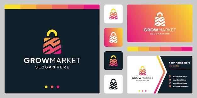 Estratto del sacchetto della spesa di logo di progettazione del modello con analitico di simbolo. progettazione di biglietti da visita.