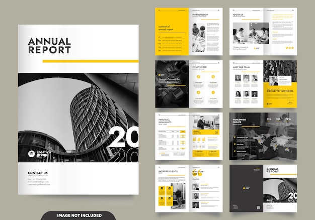 Progettazione del modello con frontespizio per profilo aziendale e brochure