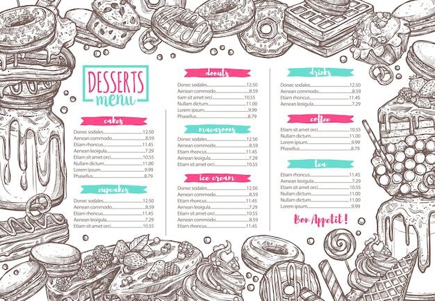 Modello di menu di dessert, caramelle, prodotti da forno e dolci, illustrazione disegnata a mano di schizzo Vettore Premium