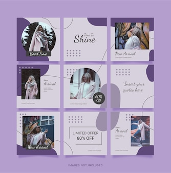 Modello fashion women instagram puzzle post