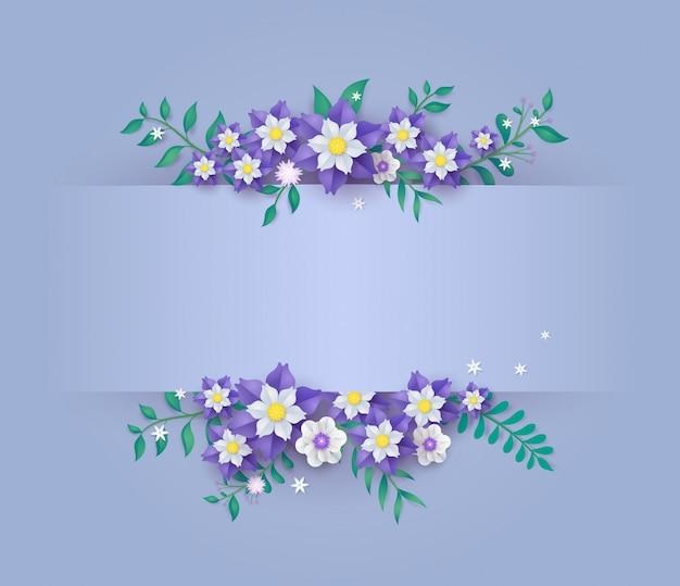 Modello in design di carta tagliata di fiori.