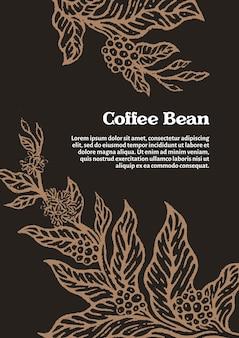 Modello di ramo dorato della pianta del caffè con fiori di foglie e chicchi di caffè naturali