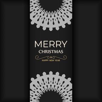 Modello brochure di auguri buon natale colore nero con motivo di lusso