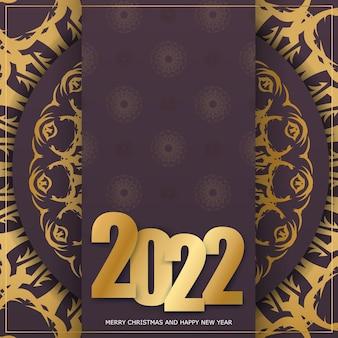 Modello biglietto di auguri 2022 buon natale color bordeaux con ornamento invernale in oro