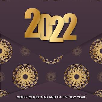 Modello biglietto di auguri 2022 buon natale colore bordeaux con motivo oro invernale