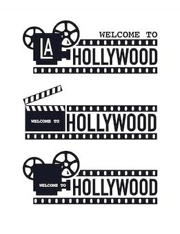 Logo del cinema modello grunge, benvenuto a hollywood.