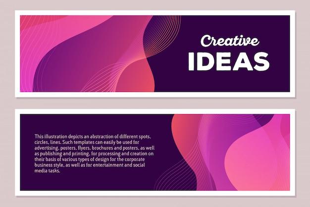 Illustrazione del modello di composizione astratta variopinta rosa con testo su fondo scuro, formato orizzontale. concetto di idee creative. fronte e retro.