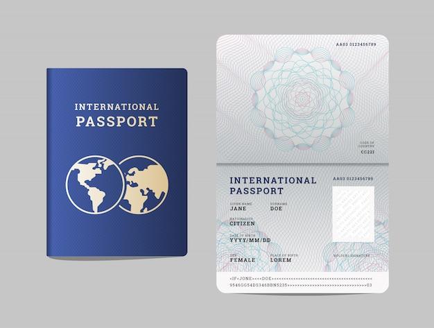 Modello di passaporto internazionale con pagina aperta