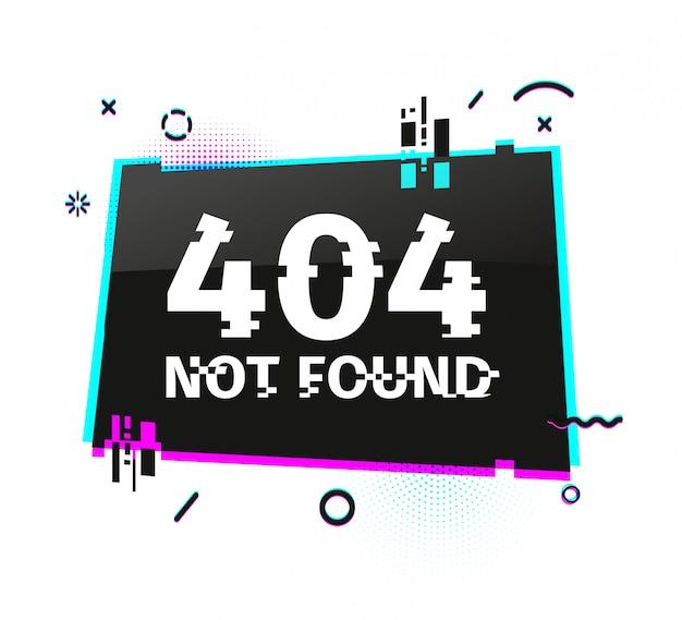Banner internet modello con effetto glitch. pagina del sito web di layout rettangolo nero orizzontale con particelle rotte. pagina di errore banner con grafica pixel e elemento di arresto geometrico.