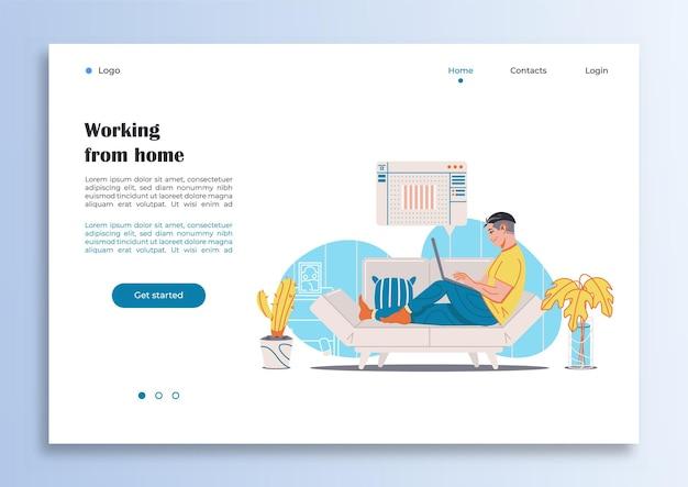 Pagina internet modello con un uomo che lavora da casa