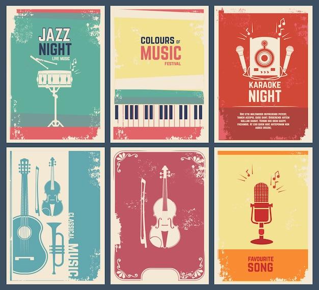 Modello di biglietti d'invito con immagini di strumenti musicali. illustrazione della bandiera del festival jazz di musica canzone preferita e festa