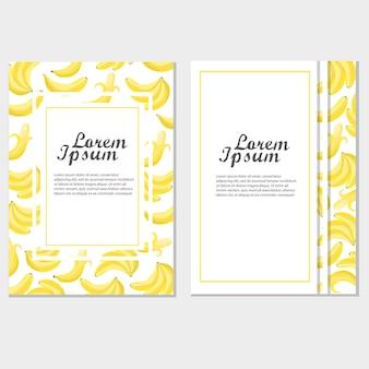 Modello di invito o poster con banane per il design. illustrazione vettoriale