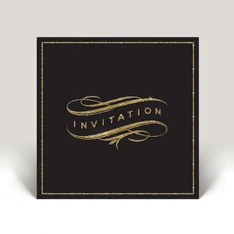 Invito modello con elementi fioriti oro glitter - illustrazione