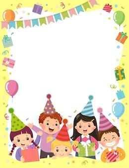 Il modello è pronto per l'invito per la carta della festa di compleanno con un gruppo di bambini che tengono scatole regalo.