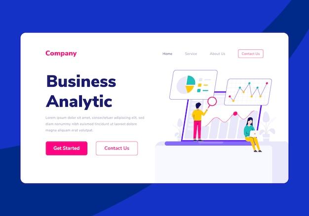 Illustrazione piana analitica di affari della gente della pagina di destinazione del modello