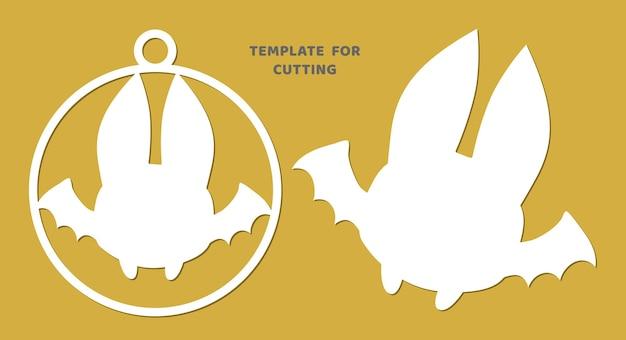 Modello per taglio laser, intaglio del legno, taglio della carta. sagome di animali per il taglio. stencil di vettore di pipistrello.