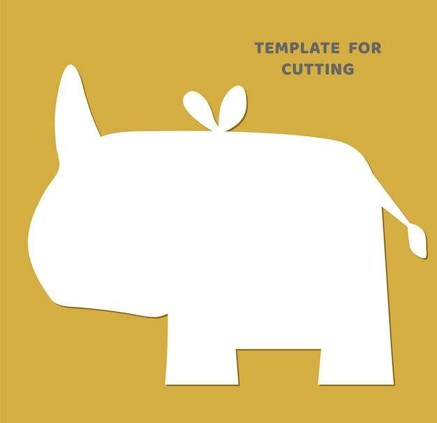 Modello per taglio laser, intaglio del legno, taglio della carta. sagome di animali per il taglio. stencil di vettore di rinoceronte.