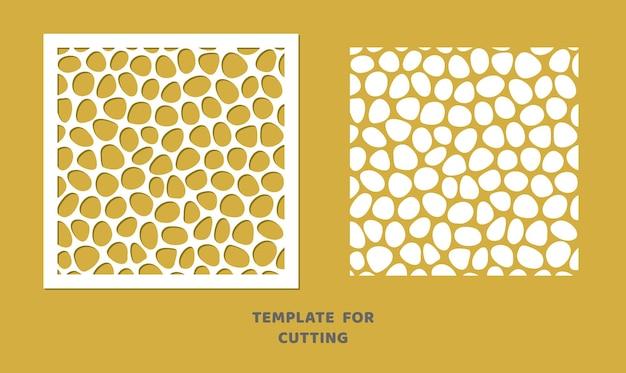 Modello per taglio laser, intaglio del legno, taglio della carta. motivo quadrato per il taglio. stencil di vettore del pannello decorativo del mosaico.