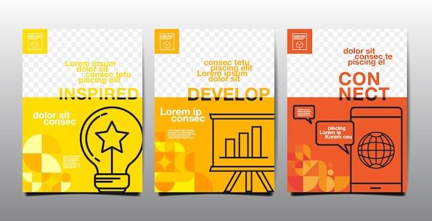 Progettazione del layout del modello, libro con copertina aziendale, tonalità gialla