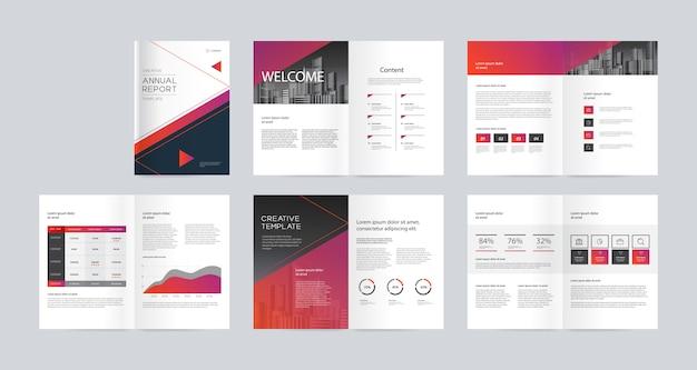Progettazione del layout del modello con copertina per profilo aziendale, relazione annuale, brochure, volantini, riviste, libri e scala di dimensioni a4 per modificabile.
