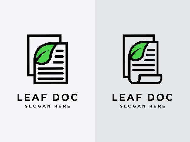 Modello foglia documento design logo dati naturali logo simbolo documento logo