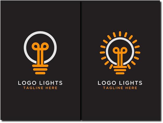 Modello di progettazione del logo della linea della lampadina imposta l'idea del concetto di energia dell'energia elettrica