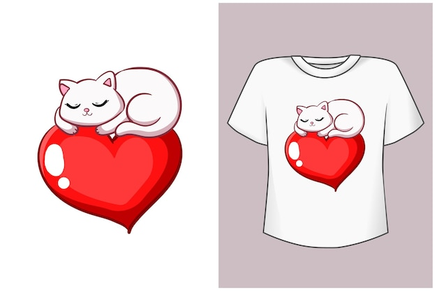 Modello piccolo gatto sull'illustrazione del fumetto del cuore Vettore Premium