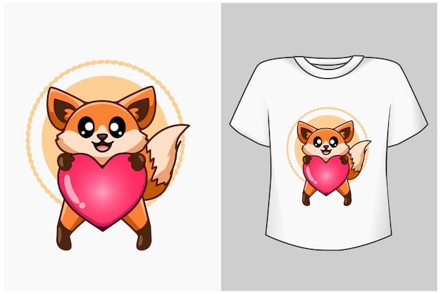 Modello piccola volpe con illustrazione di cartone animato di amore Vettore Premium