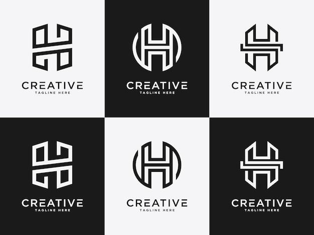 Logo del modello imposta lettera h icona iniziale monogramma