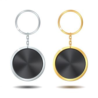 Set portachiavi in metallo modello cerchio dorato e argento