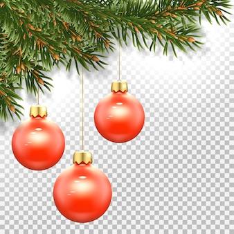 Modello per un biglietto di capodanno con rami di un albero di natale e un giocattolo per l'albero di natale - palline rosse