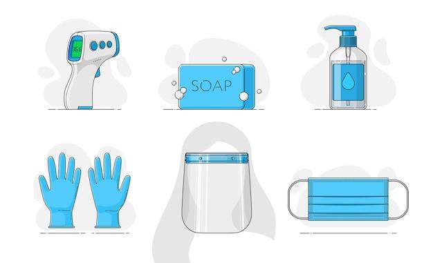 Modello termometro senza contatto sapone disinfettante gel antibatterico guanti visiera maschera