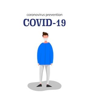 Modello per il nuovo focolaio di coronavirus 2019-ncov uomo isolato su uno sfondo bianco. concetto di epidemiologia pandemica. illustrazione piatta.