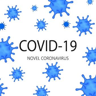 Modello per il romanzo coronavirus 2019-ncov scoppio su uno sfondo bianco. concetto di epidemiologia pandemica. illustrazione piatta
