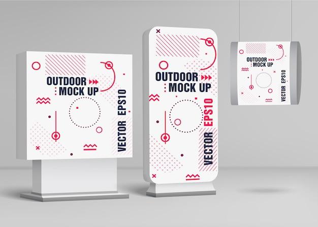 Modello per cartelloni pubblicitari all'aperto. design mock up urbano. illustrazione di vettore.
