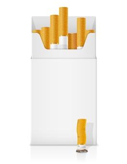 Pacchetto di sigarette modello con filtro giallo su bianco
