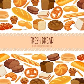 Cibo di progettazione della pagina del modello con prodotti a base di pane. pane di segale e pretzel, muffin, pita, ciabatta e croissant, pane integrale e integrale, bagel, pane tostato, baguette francese per panetteria di design.