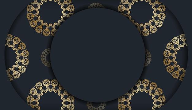 Cartolina modello in colore nero con ornamenti in oro greco preparati per la stampa.