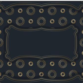 Cartolina modello in nero con ornamenti in oro indiano preparati per la stampa.