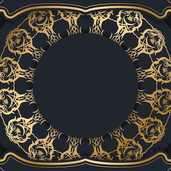Cartolina modello in nero con ornamenti in oro indiano per le tue congratulazioni.