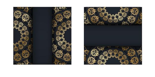 Modello cartolina in nero con motivo dorato indiano preparato per la stampa.